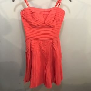 bebe Dresses - Bebe Coral Strapless Ruffle Dress